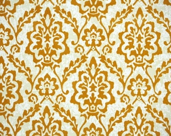 Retro Flock Wallpaper by the Yard 70s Vintage Wallpaper - 1970s Copper Flock Damask on White