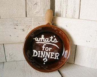 Hand painted frying pan sign repurposed ceramic upcycled