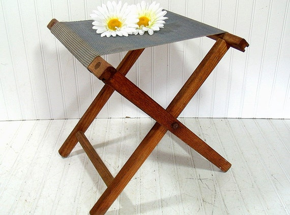Vintage Canvas Fabric Amp Wood Camp Chair Retro Outdoor