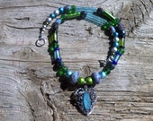 Stone,metal,glass beaded necklace 20 inch,pendant 1 1/2 inch