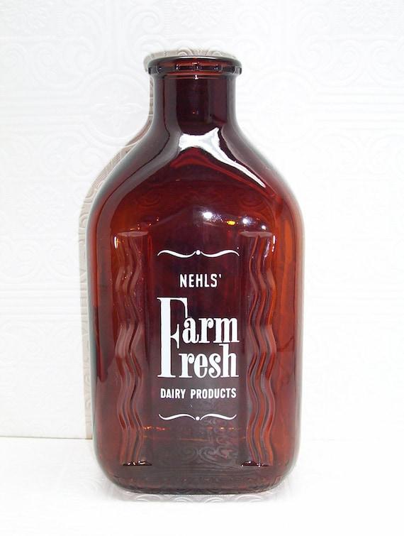 Vintage Nehls 39 Dairy Glass Milk Bottle Half Gallon By