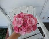Pink Spiral Rosette Paper Flower - Bouquet Boutonniere Centerpiece Gift Decor Special