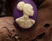 African American Woman Cameo Ring Set in Deep Purple Tone Resin and Bronze Tone Metal