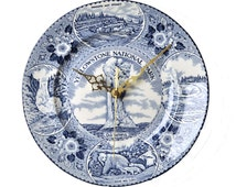 Blue and White Dinner Plate Clock Yellowstone National Park Vintage China Unique Wall Clock Kitchen Souvenir Wyoming Bears Waterfalls