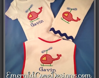 Personalized 3 Piece Gift Set, onesie, bib & burp cloth