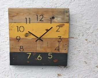 Reclaimed Pallet Wood Wall Clock.  Modern Numbers.  Pittsburgh Steelers.  Black & Gold.  CUSTOMIZE your Sports team colors.