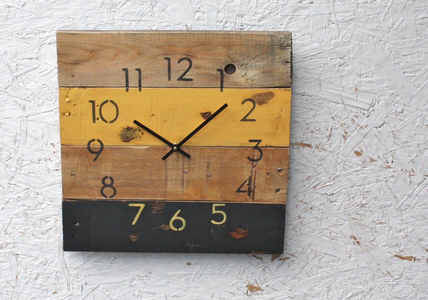 Reclaimed pallet wood wall clock modern numbers pittsburgh zoom amipublicfo Gallery