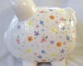 Piggy Bank - Ceramic- Hand Painted- Tiny Flowers