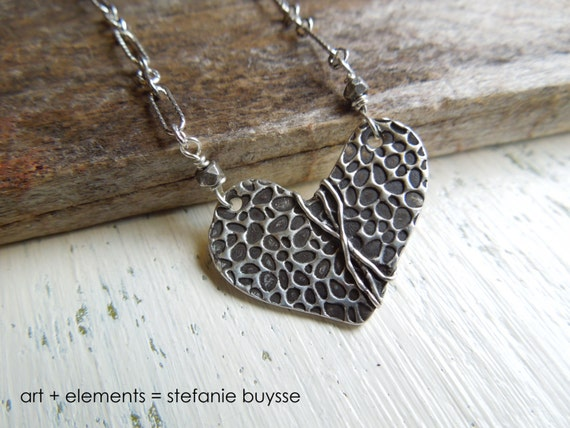 "ARTisan Made ""Heart Beach Rocks"" Necklace Fine and Sterling Silver"