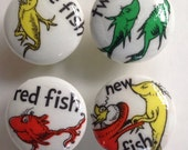 Dr Seuss set of 4 wooden drawer knobs; 1 1/2 inches