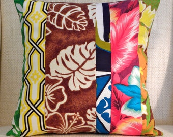 16 x 16 Pillow Cover - Vintage Hawaiian Tropical Patchwork Stripe - Brown, Red, Turquoise, Yellow