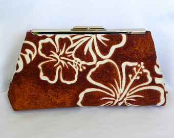 Clutch Bag - Vintage Barkcloth Fabric - Brown and Cream Hibiscus