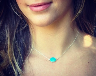 Sale! Sterling Silver REAL Turquoise Stone Necklace/ Choker. Your everyday layering piece!