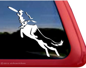 Border Collie Disc Dog | DC516PLL | High Quality Adhesive Vinyl Border Collie Window Decal Sticker