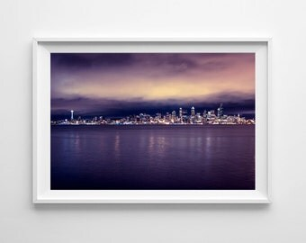 Seattle Skyline Purple Wall Art - Purple Home Decor, Minimalist Art, Cityscape Urban Photograph - Small and Oversized Art Prints Available