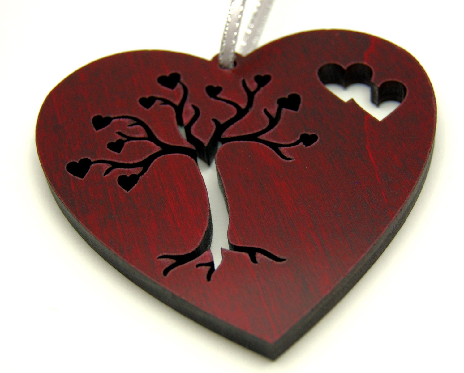 Custom, Personalized Red Wood Heart, Tree of Life, Christmas Tree Decoration