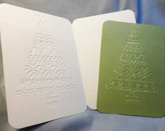 Christmas cards, Olive green Christmas cards, 4.5 x 6.25, Embossed Christmas Tree, Sandable, Matching Seals, Set of 10