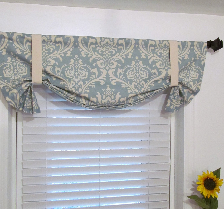 tie up curtain valance village blue natural by supplierofdreams. Black Bedroom Furniture Sets. Home Design Ideas
