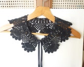 Black Lace Collar ,Black Peter Pan Collar Crochet Lace Collar Crochet Neck lace