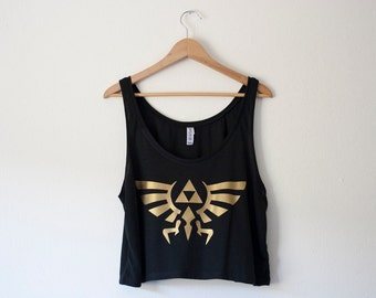 Zelda Hyrule Crest Crop Tank by So Effing Cute - Customize Colors