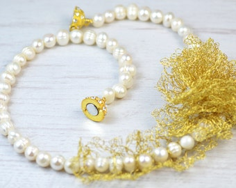 Elegant bridal freshwater pearl necklace with unique hand crocheted gold flower. Freshwater pearls necklace. Bridal pearl necklace.