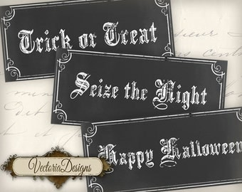 Halloween Chalkboard Labels Tags instant download printable images digital collage sheet VD0521