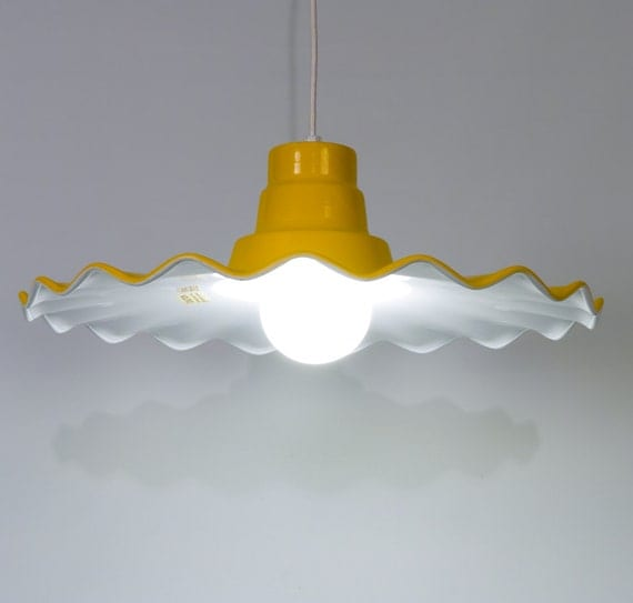 Vintage Yellow Enamel Paint Steel Pendant Light