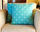 Aqua polka dot decorative pillow covers.  Set of two (2) for 20x20 inserts.  Waverly fabric.  Traditional, playful, decor.