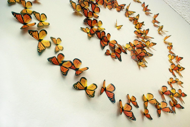 Monarch Butterflies 3D Wall Art Set of 100