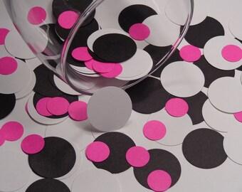 Black White and Hot Pink Circle Confetti - Paper Party Confetti - 300 paper circles