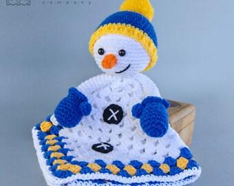 Snowman Lovey / Security Blanket - PDF Crochet Pattern - Instant Download - Blankie Baby Blanket
