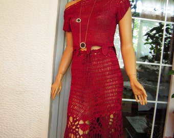 OFFER LAST ONE dress handmade crocheted and embroidered outfit  in burgundy silk ready to ship gift idea for her by golden yarn