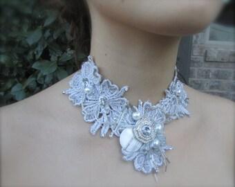 Wedding necklace Elegant Silver chunky