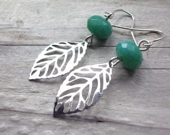 jade earrings teal green-silver leaf bridal jewelry  drop long dangle bridesmaid earrings