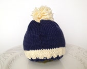 Knitted hat for baby boy 0-3 months old - 100 % cotton