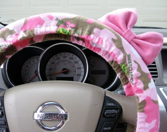 Steering Wheel Cover Bow, John Deere Camo Steering Wheel Cover with Pink Bow BF11043