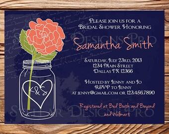 coral and navy wedding invitations | etsy, Wedding invitations