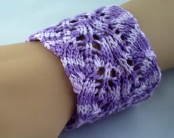 SALE. Women's / teenage girl's purple lacy multi coloured handknitted wrist cuff  bracelet.