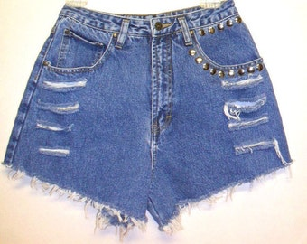 27 inch waist....... Vintage High Waisted  Denim Shorts -Distressed-- Studded
