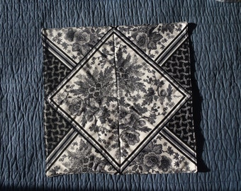 Black Floral Quilted Table Topper