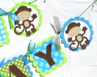 Bright Little Monkey Themed Happy Birthday Party Banner
