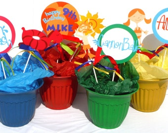 Pool Party Centerpiece Ideas hang Pool Party Themed Party Centerpiece Sticks Set Of 8 Personalized With Name And Age