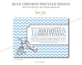 Blue Chevron Tricycle Invitation Design (PDF Printable file)