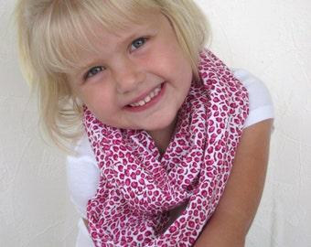 Girls Infinity Scarf Sweet Cheeks Hot Pink Cheetah Print Cotton  Jersey Knit Loop Scarf