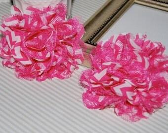 "Chiffon Lace Flowers - 2 pcs PINK CHEVRON - 3.75""  fabric flowers Shabby Chic Frayed Chiffon mesh & Lace Flowers hair brooch headband"