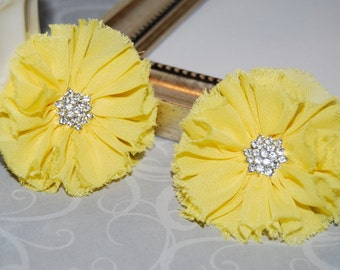 "set of two Yellow Chiffon flowers 2.5"" Shabby Frayed Fabric Flowers ballerina flowers rhinestone flowers Candace wholesale flowers"