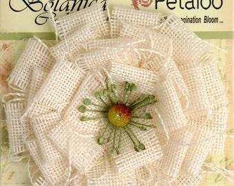 "Ivory Cream Burlap Flower - large 3.75"" fabric flower blossom 1202-200 - for headbands hat flower rustic  flower decoration brooch flower"