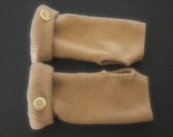 Fingerless Gloves Cashmere Camel Tan