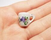 1 pc purple orchid coffee mug ceramic hand painted dollhouse miniature supply deco