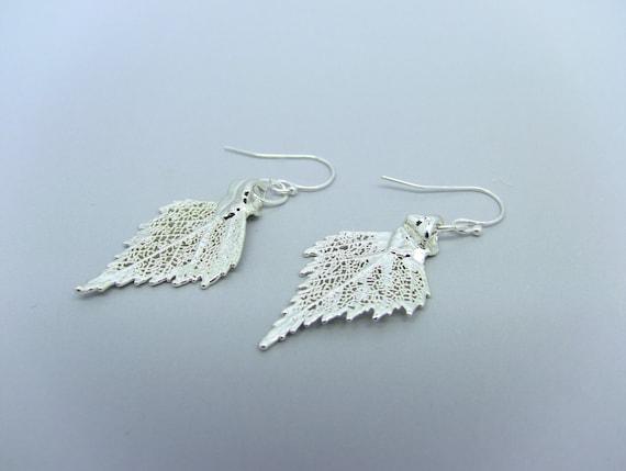 Sterling Silver Birch Leaf Earrings